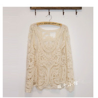 2013 spring new cutout long sleeve lace blouse