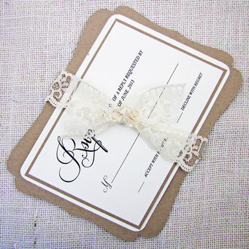Fancy Bracket Frame Rustic Vintage Lace Wedding Invitation Deposit Listing