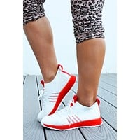 One Step Away Sneakers: White/Red