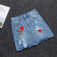 2017 jeans skirt getting new hole in cowboy denim skirt burrs leisure show thin embroidered bust the skirts womens