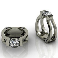 AMAZING 2.24CT WHITE ROUND 925 STERLING SILVER ENGAGEMENT AND WEDDING RING