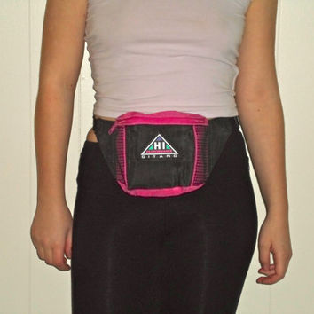 90s Hot Pink Mesh Fanny Pack Bright Colorblock Knapsack