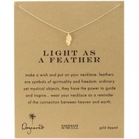"""Dogeared Gold Dipped Light as a Feather 16"""" Necklace"""
