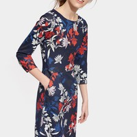 Beth French Navy Fay Floral Printed Ponte Dress | Joules US