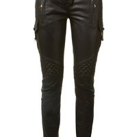 BALMAIN BLACK EMBOSSED LEATHER BIKER PANTS