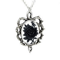 Gothic Thorn Black Rose Vine Cameo Necklace Victorian Antique Style Pendant