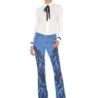 Tonya Tie Neck Contrast Cuff Buttondown | Alice + Olivia