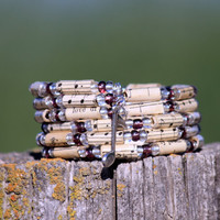 Music Bracelet in Purple  - Beads Upcycled from Vintage Hymnal - Memory Wire -  Stacking Wrap Bracelet