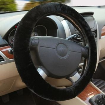 Black Winter Essential Warm Furry Fluffy Thick Faux Fur Car Steering Wheel Cover = 5987612993