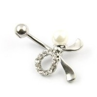 """Surgical Steel Crystal Bowknot Navel Bar Barbell Belly Button Ring Ball 14 Guage 7/16"""""""