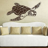 Sea Turtle Wall Decal Animals Ocean Nautical Decor Vinyl Sticker Decals Bathroom Nursery Home Bedroom Dorm Interior NV105 (12x22)