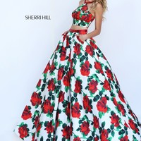 Sherri Hill 50115 Ivory Red Floral Print 2 Piece Gown