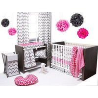 Bacati Ikat 6-Piece Crib Bedding Set, Pink/Grey - Walmart.com
