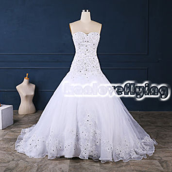 exquisite white mermaid sweetheart wedding dresses gowns,embroidery cathedral train wedding dress,2015 corset back wedding dress bridal gown