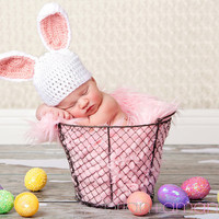 Baby Bunny Hat Newborn or 03 month Customize by WillowsGarden