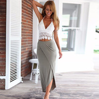 White Lace Halter Backless Cropped Top Bodycon Wrap Maxi Skirt Set