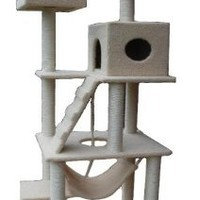 "My1stPet Cat Tower Tree with Condo House Scratcher Post, 72""/Large, Beige"
