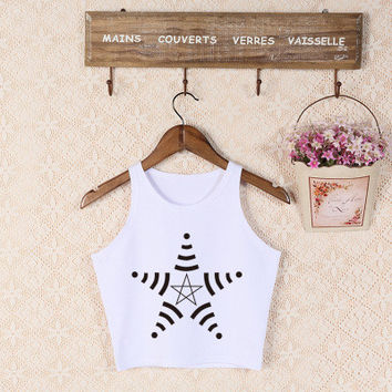 Stars Printed White Sport Crop Top Women Casual Party Plain Tank Vest Shirt T-shirt _ 3941