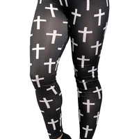 Black and White Crosses Leggings Design 144
