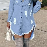 Just A Little Bit Denim Mini Dress