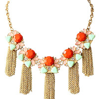 Red Stone Bohemia Tassel Necklace