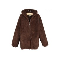 Street style harajuku kawaii women winter coat warm bear Faux Fur Coat big size outerwear womens autumn jacket ladies overcoat