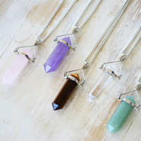 CRYSTAL POINTS ➳ SILVER MIX STONE NECKLACE