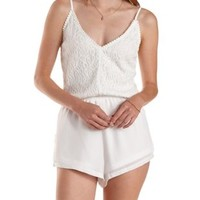 White Lace & Chiffon Romper by Charlotte Russe