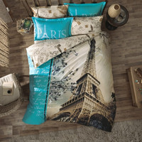 Love from Paris with Paris Eiffel tower designed beige and blue color %100 cotton unique bedding set double/single
