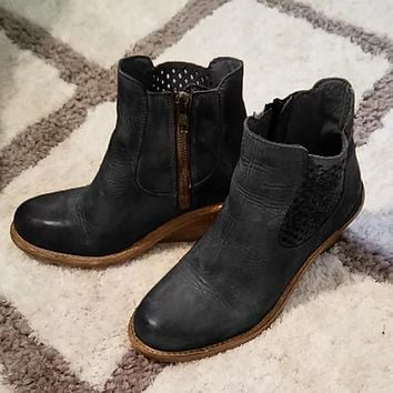 Women's Chunky Heeled Ankle Motorbike Boots