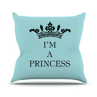 "Louise Machado ""Im a Princess"" Outdoor Throw Pillow"