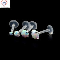 Showlove-1pcs Sparkling Prong set Opal Gem Flexible Bioplastic Labret Monroe Lip Ring Tragus Cartilage Piercing Bar Body Jewelry