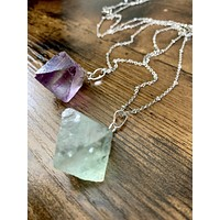 Silver Crystal Cube Necklace - Amethyst / Fluorite