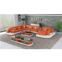 Corner Leather Sectional Sofa With LED Light
