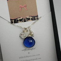 Personalized Baby Chick Initial Necklace with Sapphire Briolette and Pearl in Sterling Silver-Gift for New Mom, Best Friend