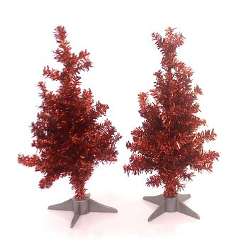 Christmas RED TINSEL TREES SET / 2 Wire Village Accessory 28867