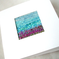 Lavender field - fabric art landscape  - beaded and embroidered card - french knots - miniature landscape - 5 inch square card