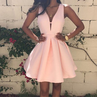 Pink 2016 Summer Ladies Fashion Sexy Backless Deep V-neck Sleeveless A-line Women's Dress Club Evening Party Mini Dresses