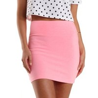 Knockout Pink High-Waisted Bodycon Mini Skirt by Charlotte Russe
