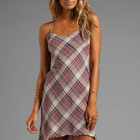 James Perse Bias Plaid Slip Dress in Ember from REVOLVEclothing.com