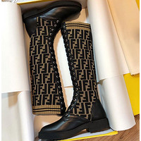 FENDI Classic Hot Sale Letter Embroidered Ladies High-Top Boots Sneakers Shoes