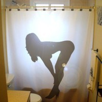 Sexy Pinup Girl Shower Curtain Nude Female Naked Woman Bent Over Dancer Pole Stripper Cool Unique Novelty Gift custom