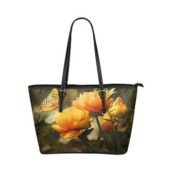Tote Shoulder Bag with Golden Flowers and Butterfly Design