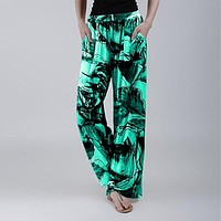 fhotwinter19 New style loose flower tie-dye printing casual women's trousers