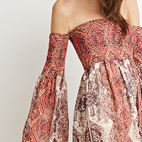 Tile Print Off-the-Shoulder Dress