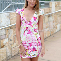 SELF TITLED DRESS , DRESSES, TOPS, BOTTOMS, JACKETS & JUMPERS, ACCESSORIES, 50% OFF SALE, PRE ORDER, NEW ARRIVALS, PLAYSUIT, COLOUR, GIFT VOUCHER,,Pink,Yellow,Print,BODYCON,SHORT SLEEVE,MINI Australia, Queensland, Brisbane