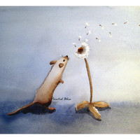 Watercolor Mouse with Dandelion -  One Tiny Wish - Signed Art Print - blue nursery art, for kids, baby room, wishes