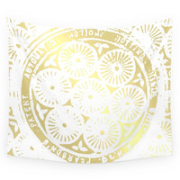 Society6 Power Of One: White Gold Wall Tapestry
