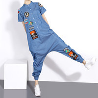 2016 Summer Paragraph Street Denim Jumpsuit Female Feet Wide Harem Pants Women Hipster Jumpsuit