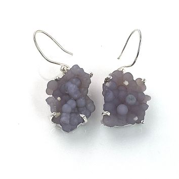 Grape Agate Rough Cluster Sterling Silver Earrings